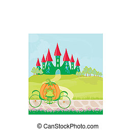 pumpkin carriage standing in front of a fairytale castle