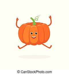Pumpkin cartoon character isolated on white background. Healthy food funny mascot vector illustration in flat design.
