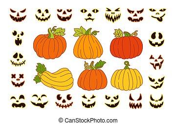 Pumpkin carved face Halloween cartoon set vector