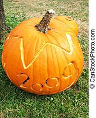 Pumpkin carved for Halloween 2009