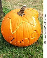 Pumpkin carved for Halloween 2009