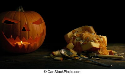 Pumpkin Carving On Table - Halloween Concept - Dolly shot...