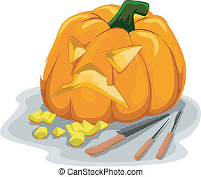 Illustration Featuring Tools Typically Used for Carving Pumpkins