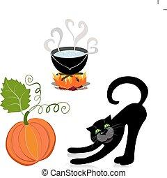 pumpkin cat cauldron