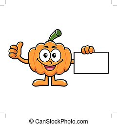 Pumpkin Character Business Card and Thumb Up Gesture. Halloween Day Isolated Pumpkin Vector Illustration.