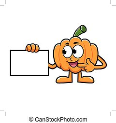 Pumpkin Character Directed to business card. Halloween Day...