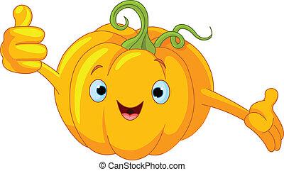 Pumpkin Character  giving thumbs u