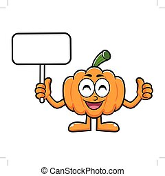 Pumpkin Character Picket and Thumb Up Gesture. Halloween Day Isolated Pumpkin Vector Illustration.
