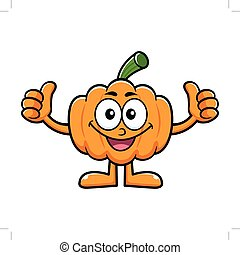 Pumpkin Character Thumb Up Gesture. Halloween Day Isolated Pumpkin Vector Illustration.