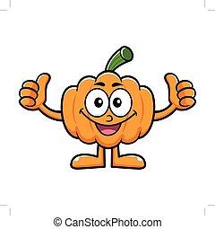 Pumpkin Character Thumb Up Gesture. Halloween Day Isolated Pumpkin Vector Illustration.