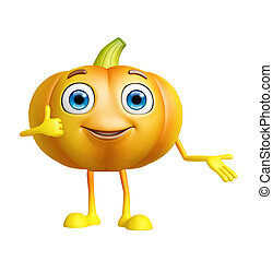 Pumpkin character with thumbs up pose
