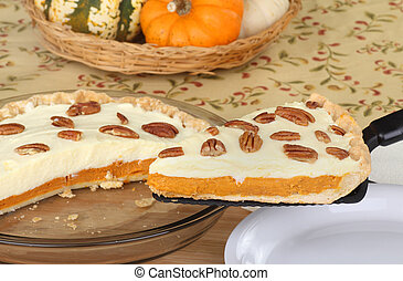 Pumpkin Cheesecake Pie - Slice of pumpkin cheesecake pie...