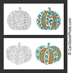 Pumpkin coloring pages - Pumpkins with vintage style...