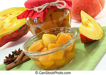 a glass pumpkin compote and fresh ingredients