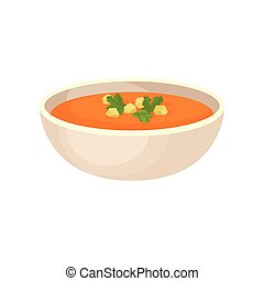 Pumpkin cream soup with cream in a bowl, traditional Thanksgiving food vector Illustration on a white background