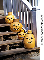 Pumpkin Decorations on Steps