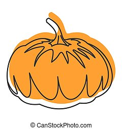 Pumpkin doodle icon vector illustration for design and web isolated on white background