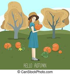 pumpkin., dynie, pole, wektor, dzierżawa, graphics., dziewczyna