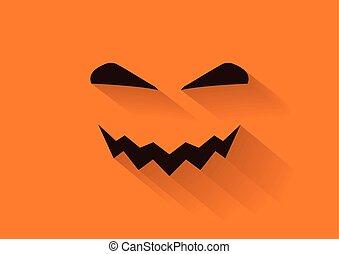 Pumpkin face flat vector long shadow for Halloween