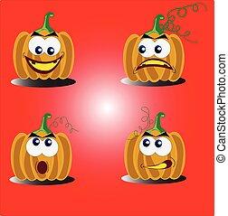 pumpkin face funny illustration