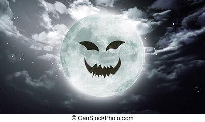 pumpkin face Large Halloween moon sky