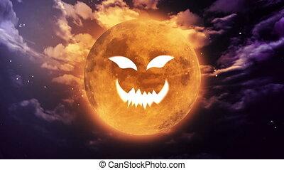 pumpkin face Large Halloween moon - pumpkin face laughing...
