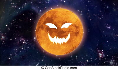 pumpkin face moon in space large