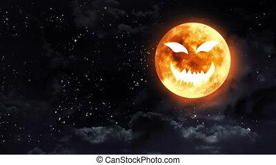 pumpkin face moon