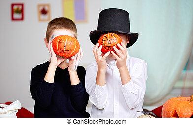 Pumpkin-faced boys
