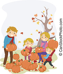 Pumpkin Family - Illustration of a Stickman Family Carrying...