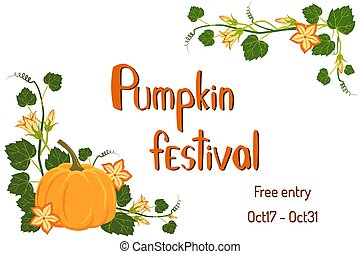 Pumpkin festival poster with flowers and lettering