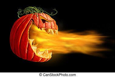 Pumpkin Flames On Black - Pumpkin flames on a black...