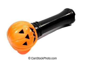 Pumpkin Flashlight - Isolated pumpkin flashlight used by...