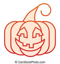 Pumpkin flat icon. Vegetable plant with ghost face. Halloween party vector design concept, gradient style pictogram on white background.