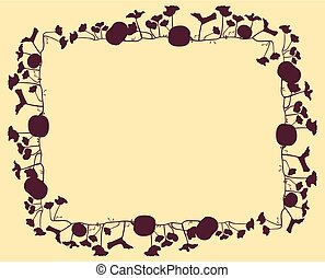 Pumpkin frame vector background abstract card