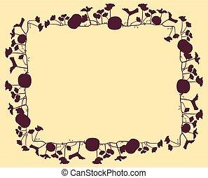 Pumpkin frame vector background abstract card