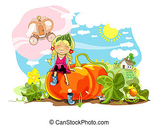 Pumpkin - Funny girl sitting on big pumpkin, rural...