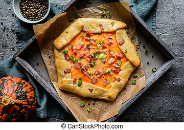 Pumpkin Galette with bacon, cheese and green onion