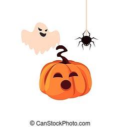 pumpkin ghost happy halloween celebration design