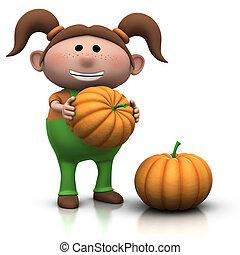 pumpkin girl - cute little girl with large pumkins - 3d...