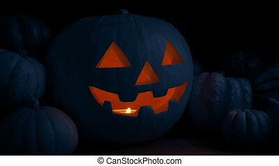 Pumpkin Glowing In The Dark On Table Halloween