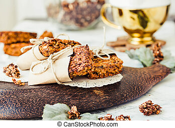 Pumpkin granola bars with peanut butter and seeds