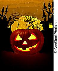 Pumpkin Halloween Card with hanged man. EPS 8 - Pumpkin...