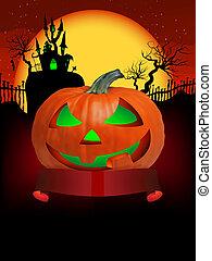Pumpkin Halloween Card with hanged man. EPS 8