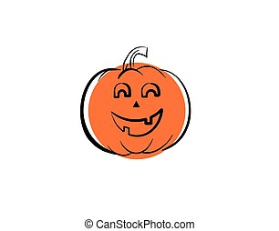 pumpkin Halloween icon character on white background in vector illustration