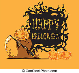 Pumpkin. Halloween monster