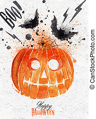 Pumpkin halloween poster with lettering stylized drawing...