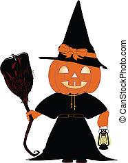 Pumpkin Halloween Witch Illustration