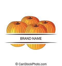 Pumpkin Hand Draw Logo Color Icon