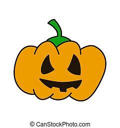 Pumpkin hand drawn flat line icon on white